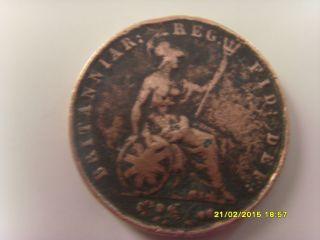 1838 Victoria Dei Gratia Britanniar Reg Fid Def Brass Coin Rare photo