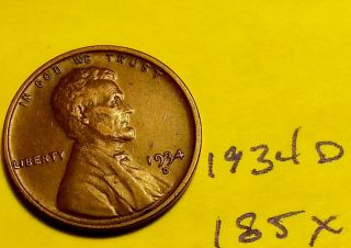 1934 - D 1c Bn Lincoln Cent - Fine Wheat Penny (185x) photo