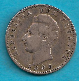 Ecuador 1895 Dos Decimos Scarce Silver photo