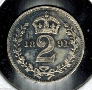 1891 Great Britain 2 Pence Silver Queen Victoria 124 Year Old Coin Km 771 Unc photo