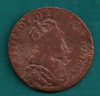 1656 - K France Liard Louis Xiv Juvenile Bust Vintage Bordeaux French Coin photo