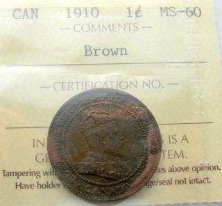 1910 Large Cent Iccs Ms - 60 Brown Last King Edward Vii Unc Canada Penny photo