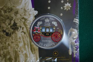 2007 Canada 25 Cent Commemorative - Queen ' S 60th Wedding - photo
