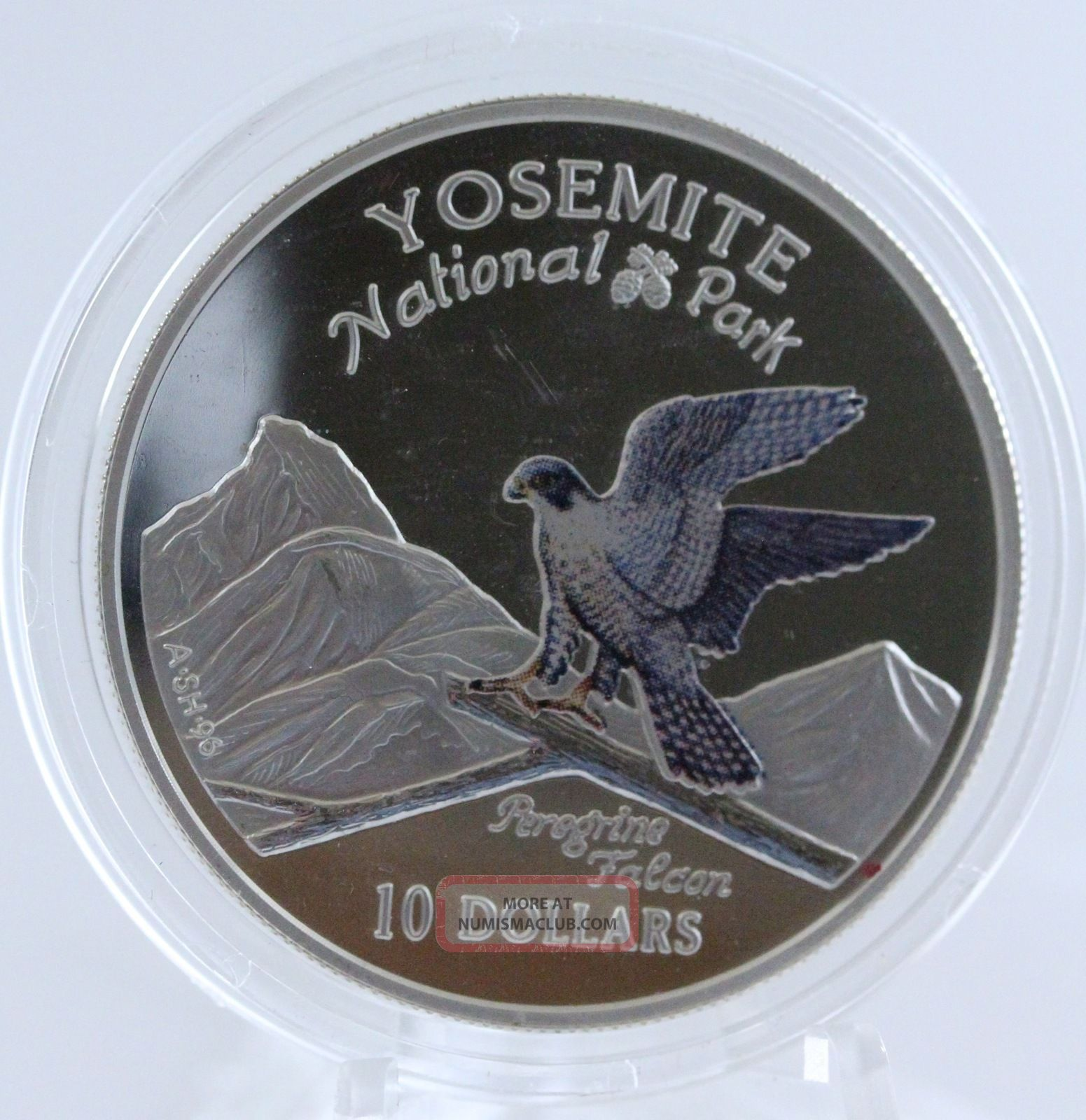 1997 Cook Islands $10 Yosemite National Park Peregrine Falcon Silver Proof Coin Coins: World photo