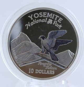 1997 Cook Islands $10 Yosemite National Park Peregrine Falcon Silver Proof Coin photo