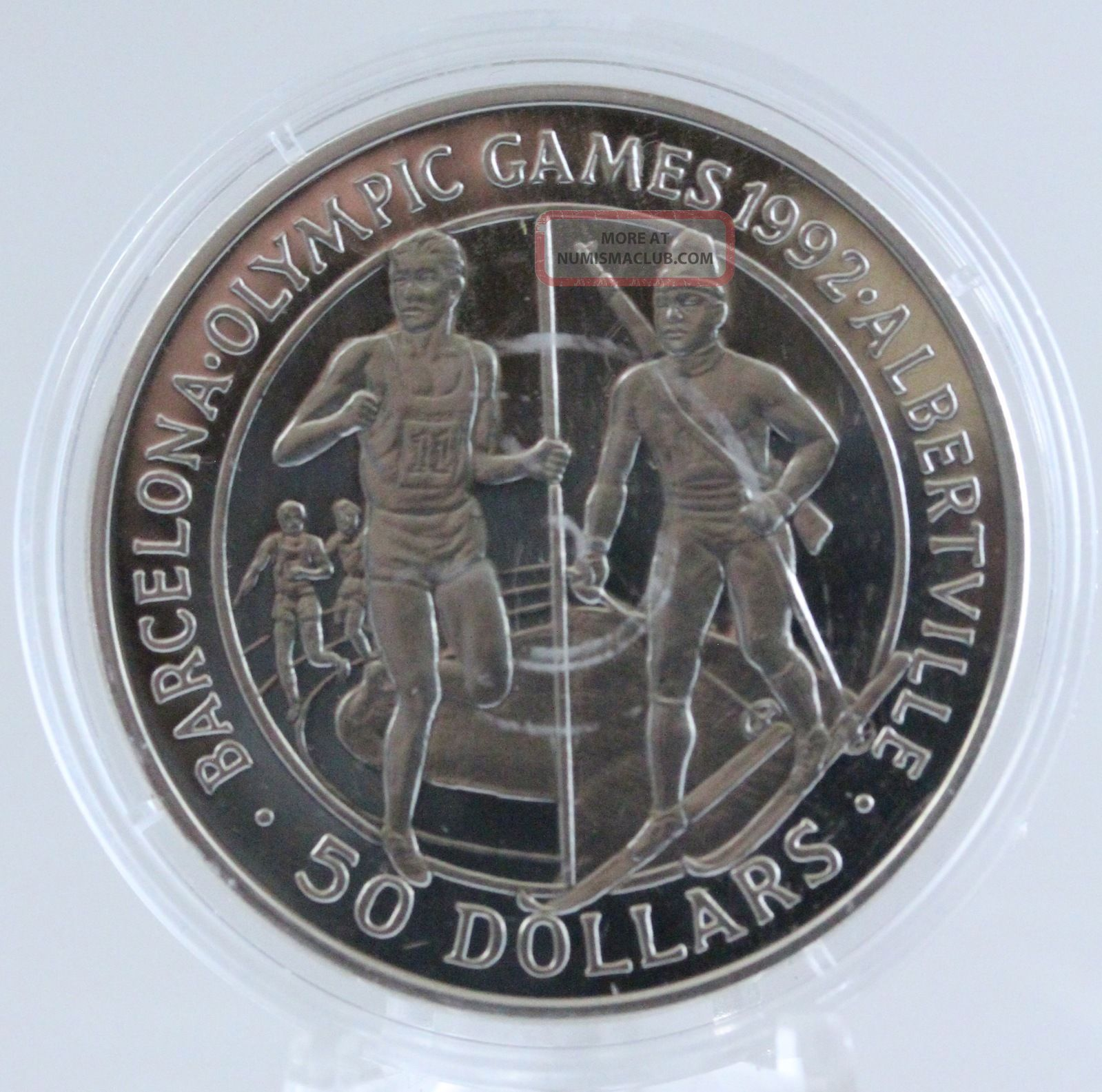1989 $50 Cook Islands 1990 Olympics Runners And Biathalon Sterling Silver Coin Coins: World photo