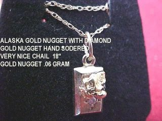 Gold Nugget Pendant With Diamond,  Gold From Under The Ice,  Gold Nugget /diamonds photo