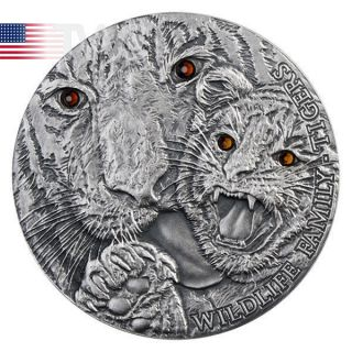 Niue 2013 1$ Tigers Wildlife Family Silver Antique Finish Coin photo