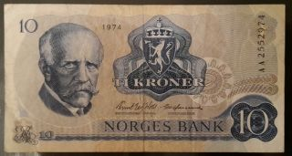 Norway 10 Kroner 1974 Ah Pick 36,  Vf,  (, No Reserved Price) photo