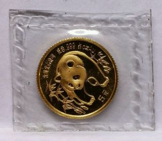 1986 1/20 Gold Panda.  999 Au 24k In Holder Low Mintage photo