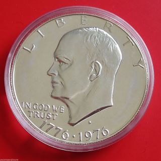 1976 Silver Eisenhower Ike Dollar Proof,  Us Capsule,  830 photo