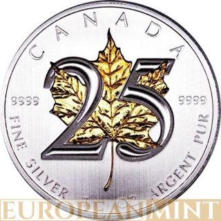 2013 1oz $5 Cad Canadian Silver 25th Anniversary Maple 24k Gold Gilded Leaf Coin photo