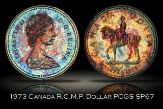 1973 Canada Rcmp Silver Dollar Pcgs Sp67 Decent Toning Trueview $1 photo