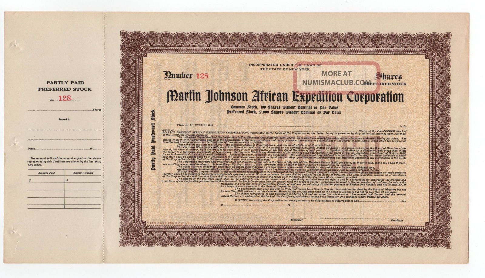Martin Johnson African Expedition Corporation Stock Certificate Stocks & Bonds, Scripophily photo