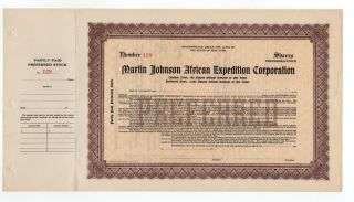 Martin Johnson African Expedition Corporation Stock Certificate photo