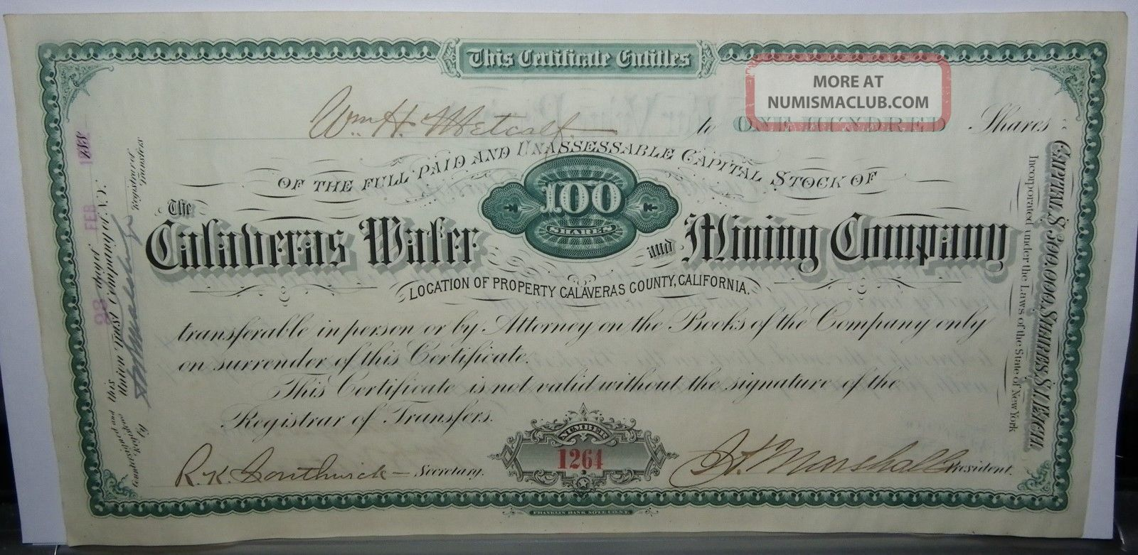 1882 Dated Certificate For 100 Shares In The Calaveras Water & Mining Co.  - Issued Stocks & Bonds, Scripophily photo