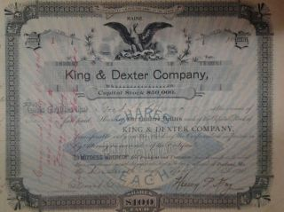 First Issued Stock Certificate From King&dexter Co.  Portland Maine And Last Issue photo