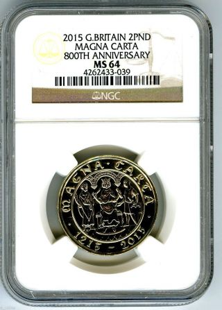 2015 Great Britain 2pd Magna Carta Ngc Ms64 800th Anniversary Schoolboy Error photo