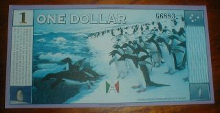 Antarctica $1 Dollar 1999 Banknote Money,  Penguins,  Currency photo