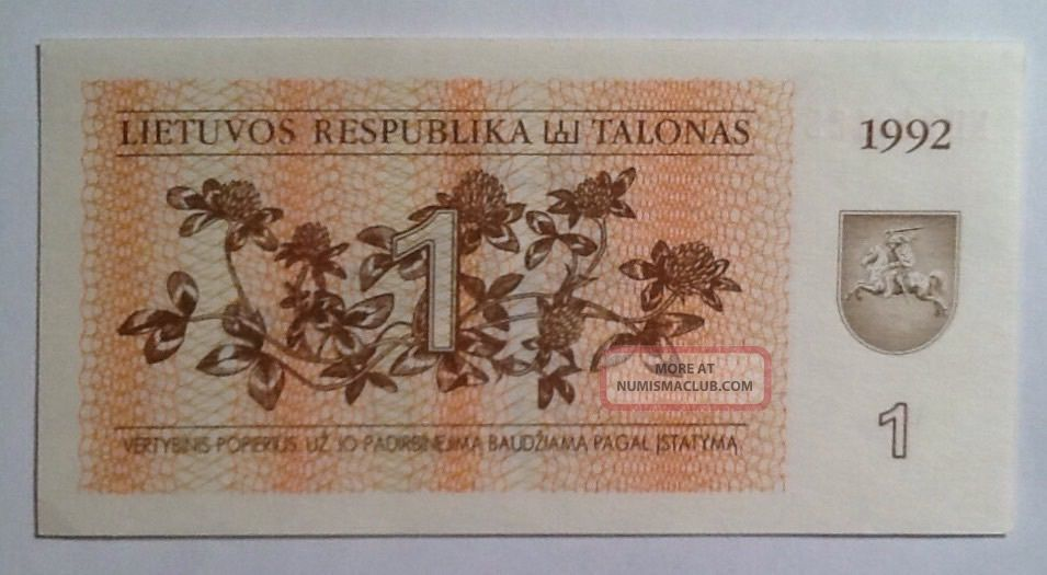1992 1 Talonas Lithuania Unc And Value Banknote - We Combine Shipment