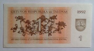 1992 1 Talonas Lithuania Unc And Value Banknote - We Combine Shipment photo