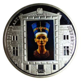 Cook Islands 2012 Masterpieces Of Art Nefertiti Clad Silver Plated Proof photo