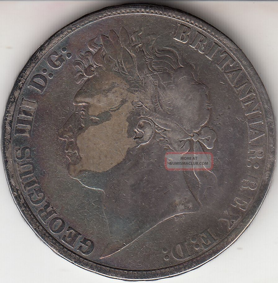 1822 King George Iv Large Crown / Five Shilling Coin From Great Britain UK (Great Britain) photo