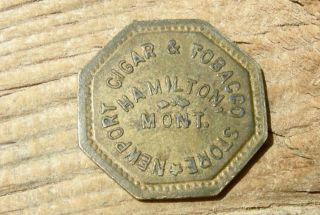 1900s Hamilton Mt Montana (ravalli Co Nr Idaho) Newpor Cigar Tobacco Brass Token photo