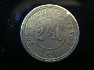 Rare 1881 Colombia 2 1/2 Dos Y Medio Centavos Coin photo