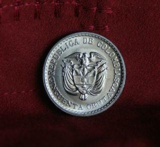 1965 50 Centavos Colombia Unc World Coin Bolivar Km225 Jorge Gaitan Low Mintage photo