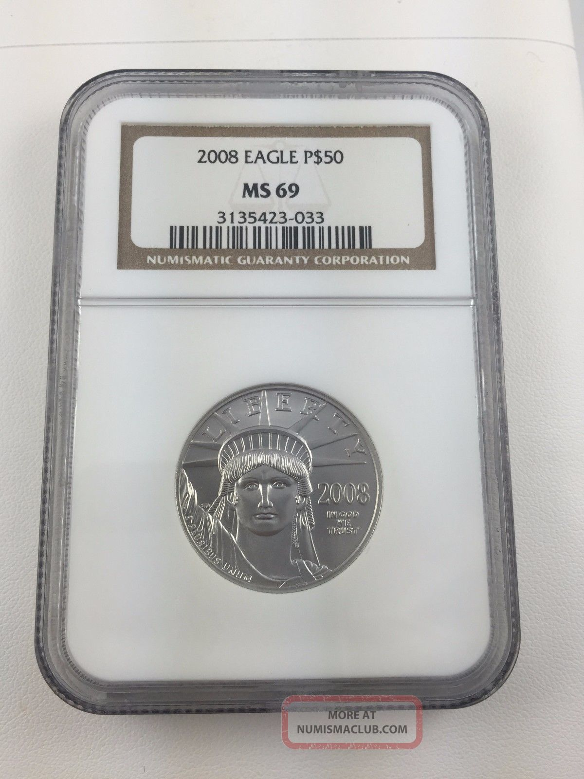 2008 1/2 Oz $50 Platinum American Eagle Ngc Ms 69 Platinum photo