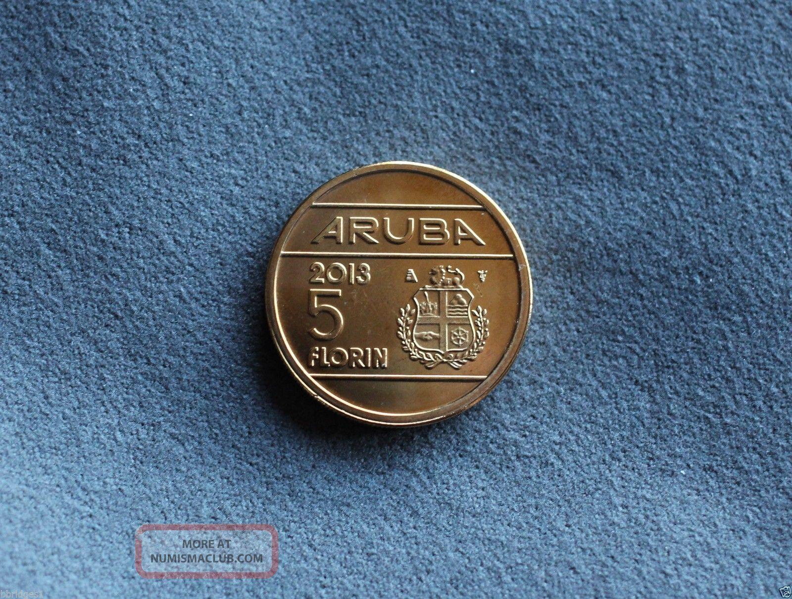 Aruba Commemorative 5 Florin Coin 2013 Unc - Rare & Hard To Find North & Central America photo