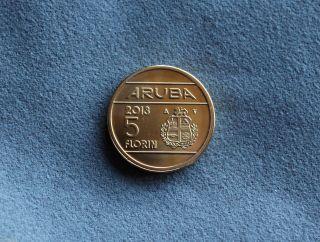 Aruba Commemorative 5 Florin Coin 2013 Unc - Rare & Hard To Find photo