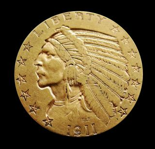 1911 - S Gold United States Indian Head $5 Dollar Half Eagle Coin - San Francisco photo