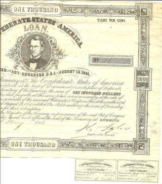 1861 Civil War,  $1000 Confederate Bond,  W/2 - $40 Coupons,  Serial 106 photo