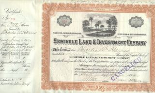 1910 Seminole Land & Investment Co Stock Certificate St.  Cloud Florida Civil War photo