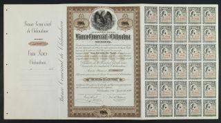Mexico 1899 Banco Comercial De Chihuahua Una Acción De $100 (30 Cupones De 30) photo