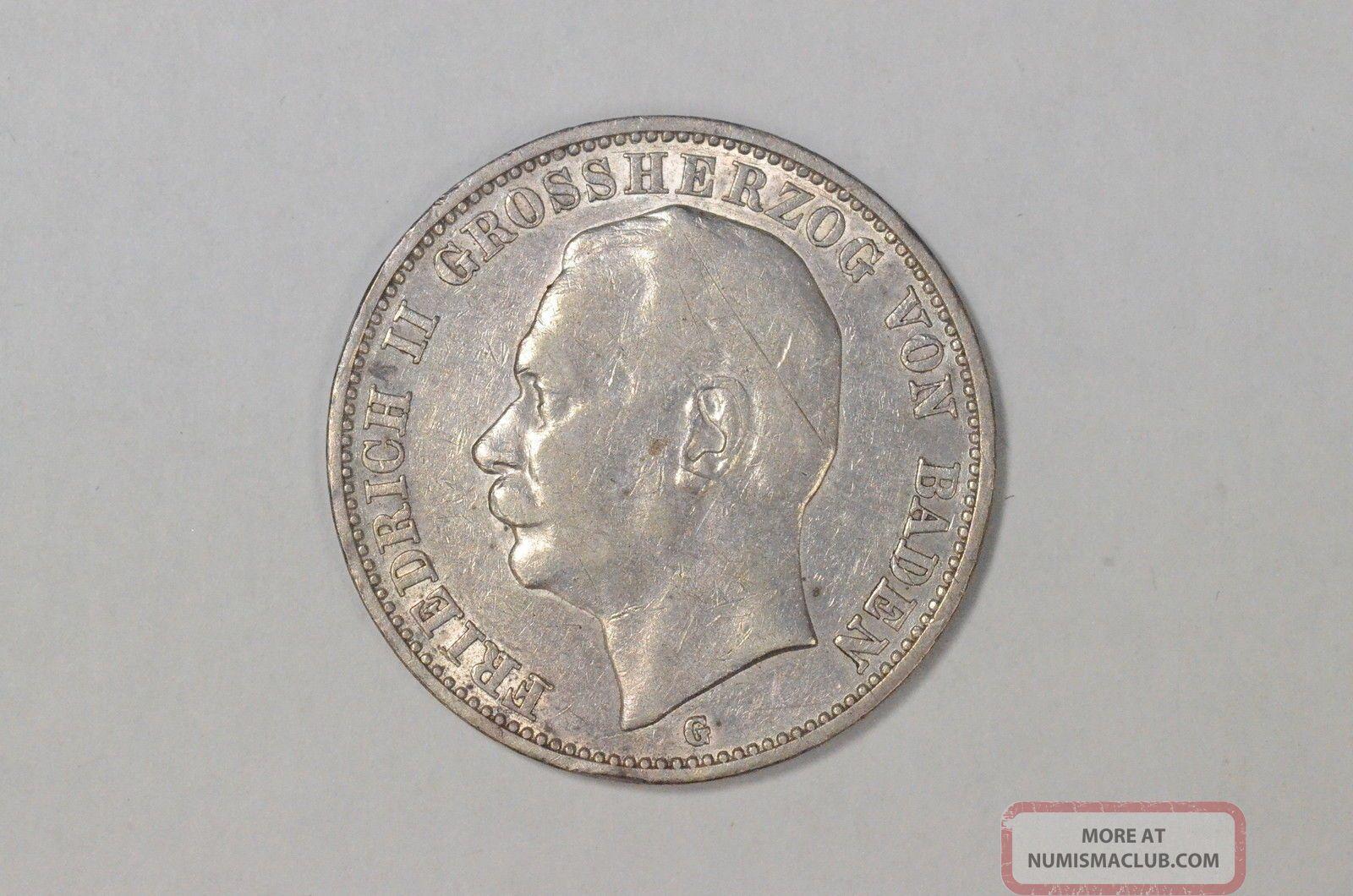 1912 - G 3 Mark Germany Baden.  900 Silver Coin Km 280 (850) Germany photo