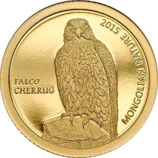 Mongolia 2015 500 Togrog Mongolian Nature Falco Cherrug Falcon Gold Proof Coin photo