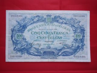 Бельгия 500 франков 1943 Xf Rare photo
