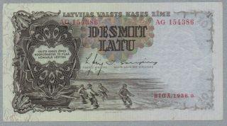 10 Latu Latvia Note,  1938,  Pick 29 - B photo