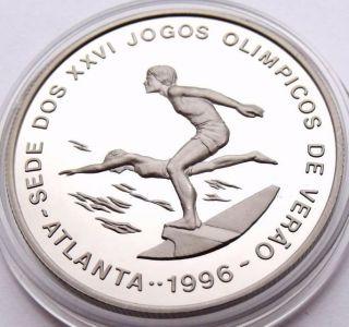 St.  Thomas & Prince Island 1000 Dobras 1993 Atlanta Olympics Swimming - Rare photo