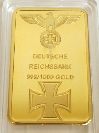 1oz Gold Nazi Iron Cross Bar Ww1 Ww2 100 Mills Layered Hitler Third Reich photo