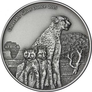 1000 Francs Gabon 2015 - Cheetahs - Antique Finish photo