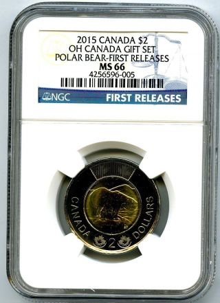 2015 Oh Canada $2 Polar Bear Toonie Ngc Ms66 First Releases photo