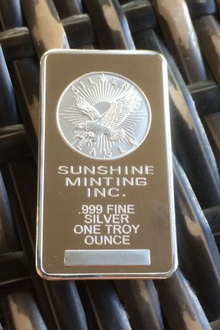 Sunshine Minting.  999 Fininshed In Silver 1oz Eagle Bar Ingot (lose) photo