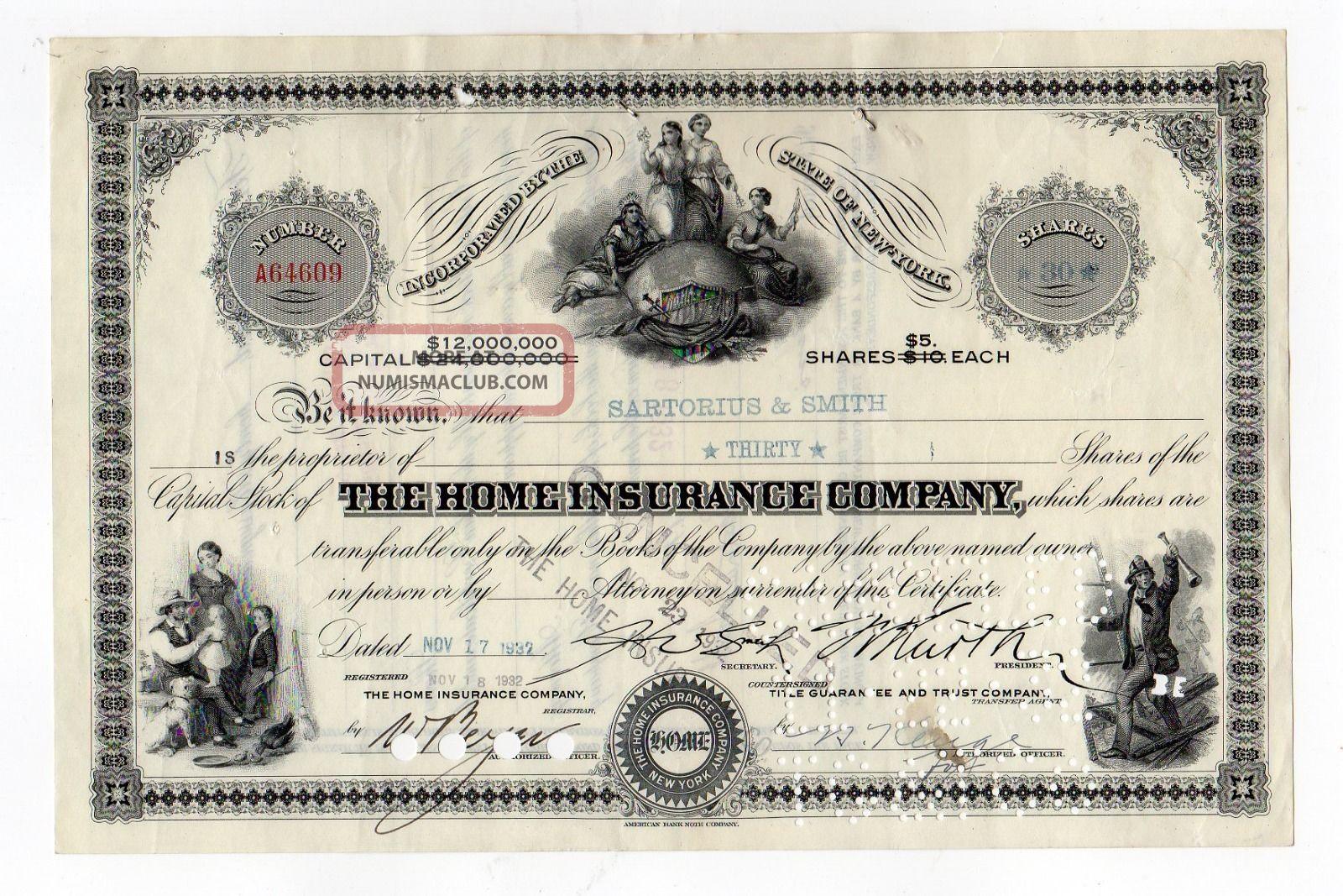 Home Insurance Company Stock Cert. Stocks & Bonds, Scripophily photo