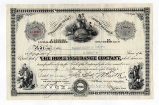 Home Insurance Company Stock Cert. photo
