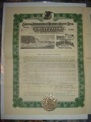 1919 Great Falls Montana Bond Stock Certificate photo