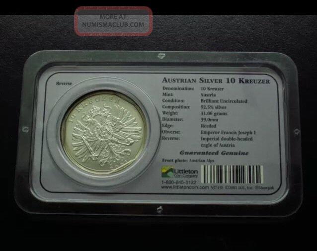 2001 Austrian 10 Kreuzer Silver One Ounce 1 Oz Littleton